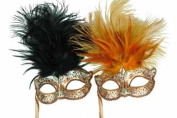 Classic Venetian Elegant Swan w/ Grand Feathers Design Laser Cut Masquerade Mask for Mardi Gras Events or Halloween - 2pc for Couples/Men/Women - Black & Orange