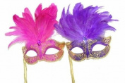 Classic Venetian Elegant Swan w/ Grand Feathers Design Laser Cut Masquerade Mask for Mardi Gras Events or Halloween - 2pc for Couples/Men/Women - Pink & Purple