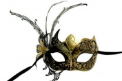 Laser Cut Venetian Masquerade Mask Costume w/ Side Lily Flower- Black Gold