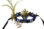 Laser Cut Venetian Masquerade Mask Costume w/ Side Lily Flower- Blue Gold