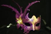 Laser Cut Venetian Masquerade Mask Costume w/ Side Lily Flower- Purple