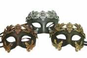 New Classic Vintage Ancient Roman Crown Inspired Masks Design Laser Cut Masquerade Mask for Mardi Gras Events or Halloween - 3pc Gold, Silver, and Bronze