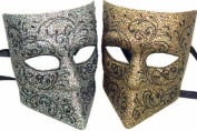 NEW Classic Vintage Venetian Gladiator Full Mask Design Laser Cut Masquerade Mask for Mardi Gras or Halloween - 2pc Set Grey & Yellow