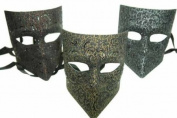 NEW Classic Vintage Venetian Gladiator Full Mask Design Laser Cut Masquerade Mask for Mardi Gras or Halloween - 3pc Set Red, Yellow, and Grey
