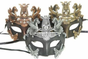 New Vintage Classic Venetian Crown Inspired Masks Design Laser Cut Masquerade Mask for Mardi Gras Events or Halloween - 3pc Set Gold, Silver, and Bronze