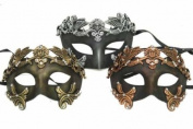 New Vintage Classic Venetian Royal Crown Inspired Masks Design Laser Cut Masquerade Mask for Mardi Gras Events or Halloween - 3pc Set Gold, Silver, and Bronze