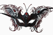 Laser Cut Venetian Majestic Butterfly Princess Design Masquerade Mask - Intricately Decorated and Detailed - Red