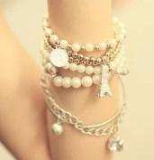 Retro Eiffel Tower Pearl Bracelets Coin Star Pendant Hand Chain By U-Beauty