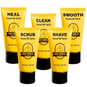 5 Piece Bee Bald Daily Skin Care Regimen Travel Kit including 15ml sizes of SCRUB, SHAVE, CLEAN, HEAL & SMOOTH