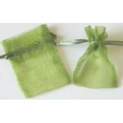 48 Organza Drawstring Pouches Gift Bags 4x5 - Moss Green