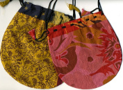 Silk Sari Large Drawstring Pouch Bag in Warm Colours