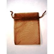 48 Organza Drawstring Pouches Gift Bags 4x5 - Brown