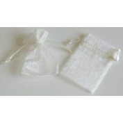 48 Organza Drawstring Pouches Gift Bags 4x5 - Ivory