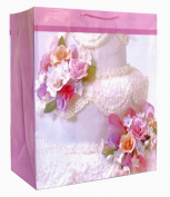 Large Gift Bag Embellished with Floral White Wedding Cake | 3KHB 81J