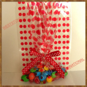25pcs 13cm x20cm Polka Dot Red Gift Cello Bag + Pre-tied Ribbon Bow