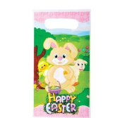 12 ~ Easter Goody Bags / Loot Bags ~ Plastic ~ Approx. 23cm ~ New ~ Easter Bunny, Egg Hunt