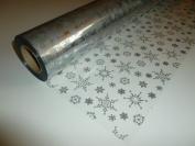 10m x 80cm Christmas Snowflakes (Silver) Cellophane Gift Wrap. Florist Qualit...