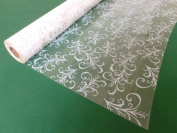 10m x 80cm Roll White Sage Leaf Cellophane Wrap. Florist Quality Bouquet / Gi...