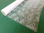 10m x 80cm Roll White Sage Leaf Cellophane Wrap. Florist Quality Bouquet / Gi...