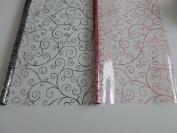 2 x 5m x 80cm Scroll Cellophane Wrap (Red & Black). Florist Quality Bouquet /...
