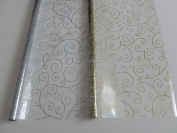 2 x 5m x 80cm Scroll Christmas Cellophane Wrap (Gold & Silver). Florist Quali...