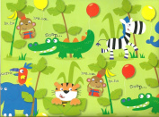 5 Sheets of Boys & Girls Animal Gift Wrap With Monkeys, Elephants, Zebras, Lions, Tigers - 50cm x 70cm