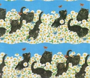 Black Cat and the Daisies Gift Wrap Paper