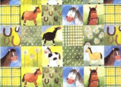 Checkerboard Horses Rolled Gift Wrapping Paper