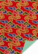 Red & Yellow Clouds Brocade Gift Wrap Paper