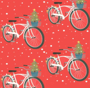 Holiday Bicycles Rolled Gift Wrap Paper