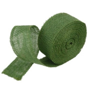 5.1cm Burlap Jute Ribbon for Party Decorations, Rustic Wedding Decor, Craft Projects - Green