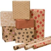 Printed Kraft Paper / Wrapping Paper, 80cm x 10' Rolls, Pack of 3, prints may vary