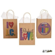 Assorted Religious Paper Gift Bags, Size Medium (1 dozen), By FiveStar Fabulous
