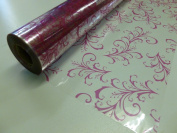 10m x 80cm Roll Strong Pink Sage Leaf Cellophane Wrap. Florist Quality Bouque...