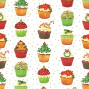 Gift Wrap Wrapping Paper Christmas Cupcakes 2 Rolls