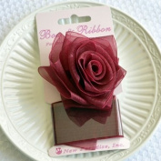 Clip On Rose Bow and Ribbon - Burgundy