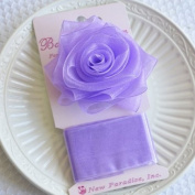 Clip On Rose Bow and Ribbon - Lavender