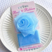 Clip On Rose Bow and Ribbon - Light Blue