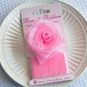Clip On Rose Bow and Ribbon - Pink