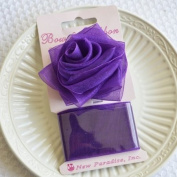 Clip On Rose Bow and Ribbon - Purple