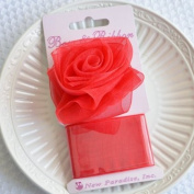 Clip On Rose Bow and Ribbon - Red