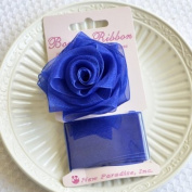 Clip On Rose Bow and Ribbon - Royal Blue