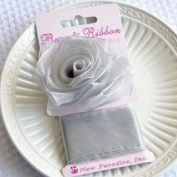 Clip On Rose Bow and Ribbon - Silver