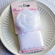 Clip On Rose Bow and Ribbon - White