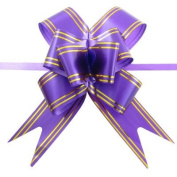 Rosallini 10 Pcs Purple Gold Tone Satin Pull Bow Ribbons for Gift Packing