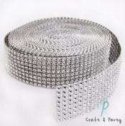 Silver Diamond Mesh Wrap Roll Rhinestone Crystal Ribbon 3.8cm x 10 yards