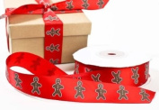 1.6cm Wide Whimsical Red Gingerbread Man Christmas Satin Ribbon- 25 Yard Spool