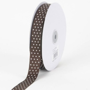 Chocolate Brown with White Dots Grosgrain Ribbon Swiss Dot 1.6cm 50 Yards