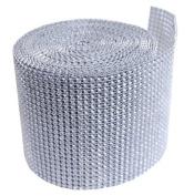 Silver Diamond Mesh Wrap Roll Rhinestone Crystal Ribbon 11cm x 10 yards