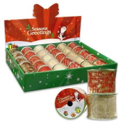 4 Rolls 6.4cm x 2yd Christmas Gift Wrap Organza Ribbons - Assorted